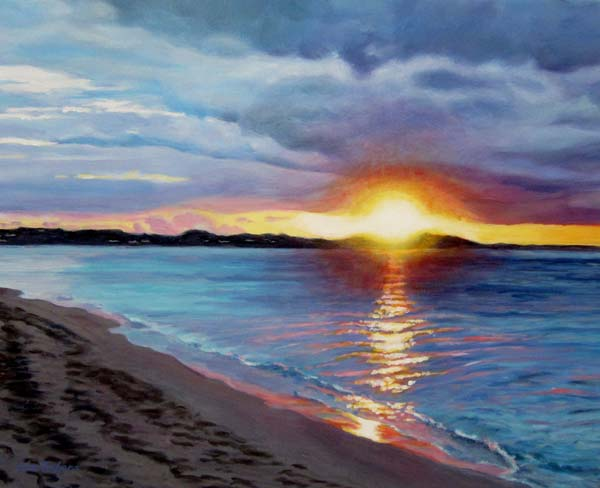 Liz Zahara Sunset Glowing on Grace Bay 20x16 -$695 -  acrylic