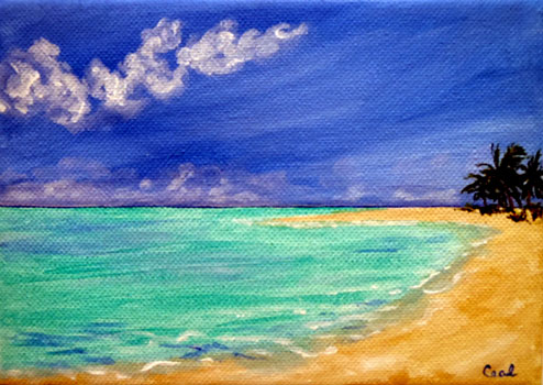 Ceal Swift Beach 2    acrylic, (sold with easel)	 7x5		 $70.00