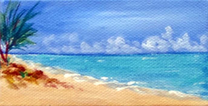Ceal Swift Beach 4    acrylic, (sold with easel)	 7x5		 $39.00