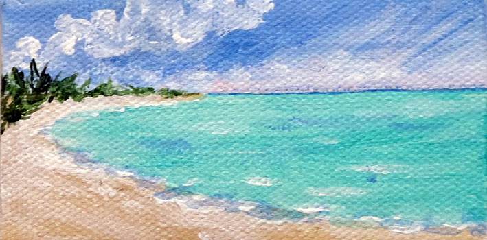 Ceal Swift Beach 5    acrylic, (sold with easel)	 7x5		 $39.00