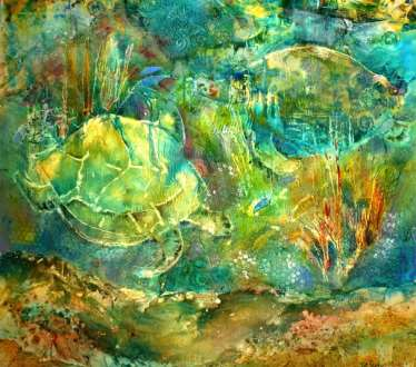 Turtle Play	36x36	mixed media	 $2,200.00