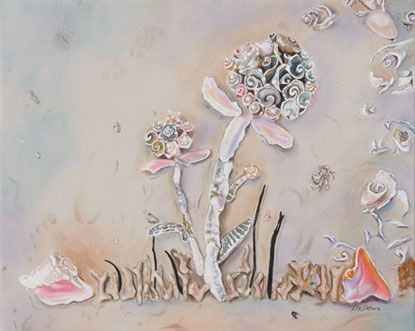 Liz Zahara Bouquet of Shells    acrylic	30x24	 $1,400.00