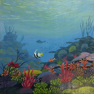 Coral Reef - 17 x 17 - Framed acrylic - $195.00