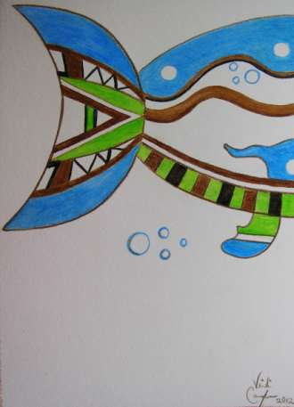 Blowing Bubbles beneath the Deep Blue Sea	12x16	watercolour pencils	 $145.00