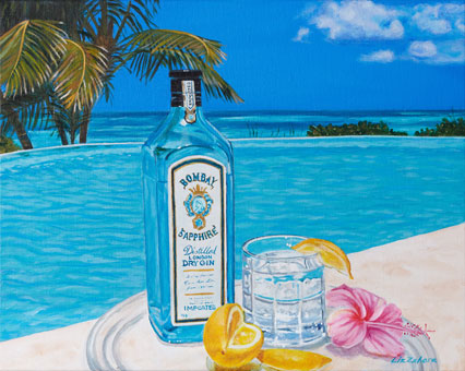 Liz Zahara Bombay Gin By The Pool 20x16 - $750 - acrylic